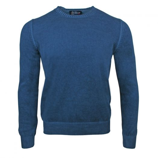 Denim Blue Vintage Effect Cotton Crew Neck Sweater