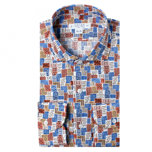 Egyptian Inspired Print Cotton Shirt