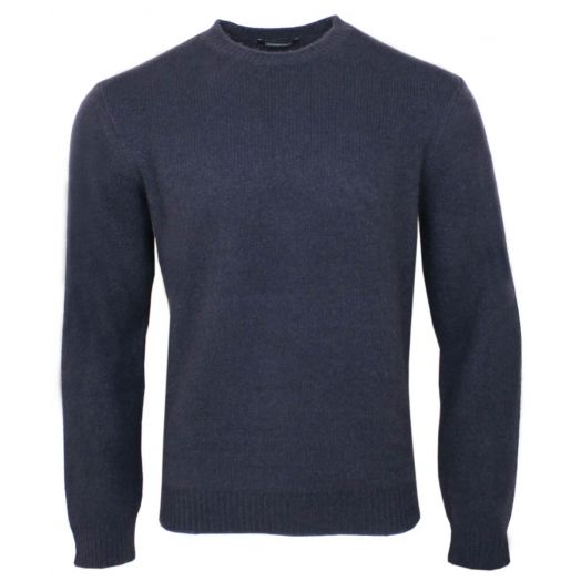 Navy Brushed Cashmere & Silk Jumper