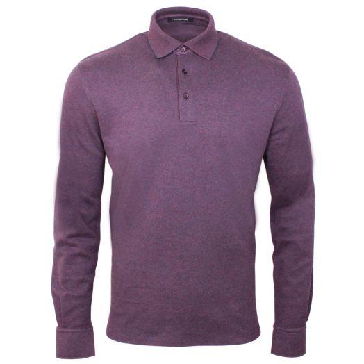 Red Melange 100% Cotton Piqué Polo Shirt