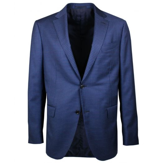 Blue Check Wool & Silk Blazer