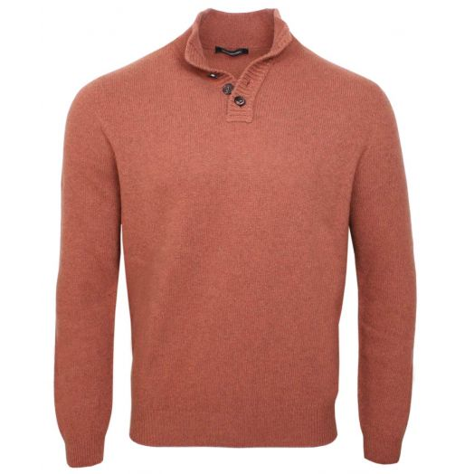 Burnt Orange 100% Yak Wool Button Neck Jumper