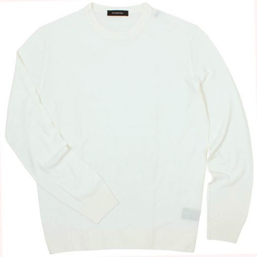 Cream Wool and Silk Crew Neck Jumper