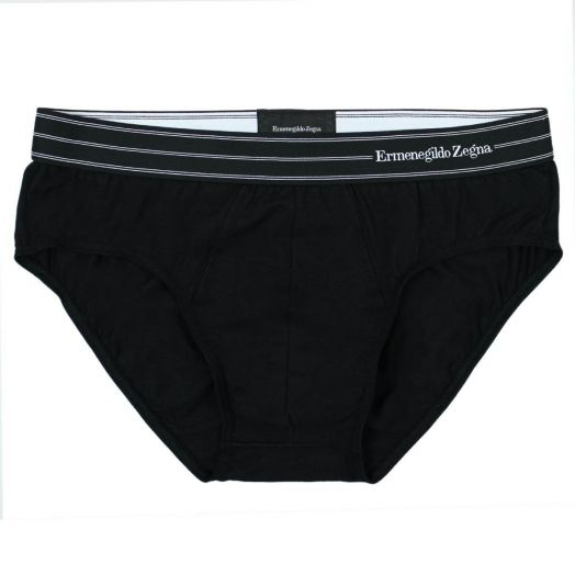 Black Stretch Cotton Midi Brief