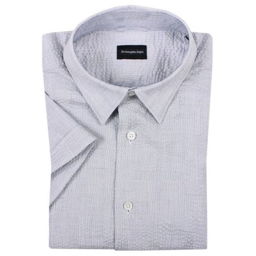 Light Blue Seersucker Cotton Shirt