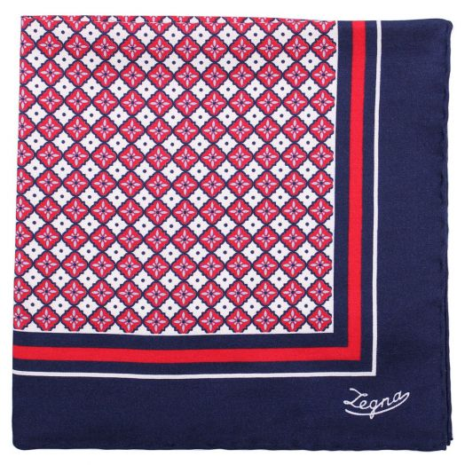 Navy, Red Geometric Print Cotton & Silk Pocket Square