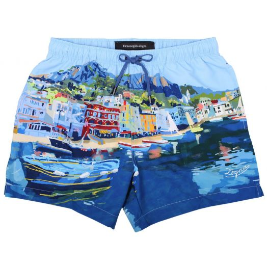 Capri Print Technical Fabric Boxer Swim Shorts