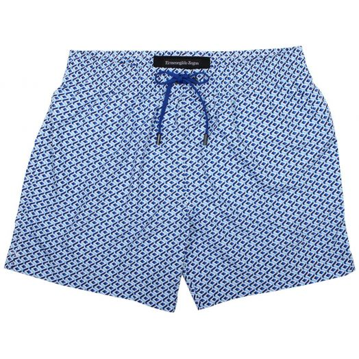 Blue Cubism Print Mid Length Swim Wear