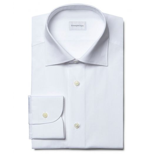 White Cotton Twill Rossini Fit Shirt