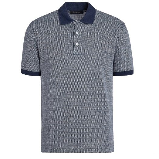 Blue & White Jacquard Pattern Polo