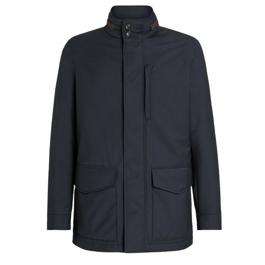 ACHILLFARM™ Elements Hip Length Navy Coat