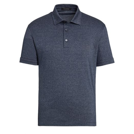 Avio Blue Jacquard Cotton Polo Shirt
