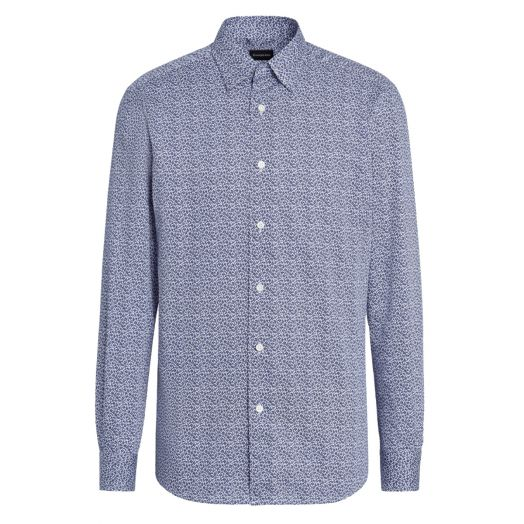 Avio Blue Leaf Print 100% Cotton Shirt