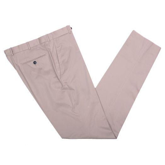 Beige Cotton Slim Fit Trousers