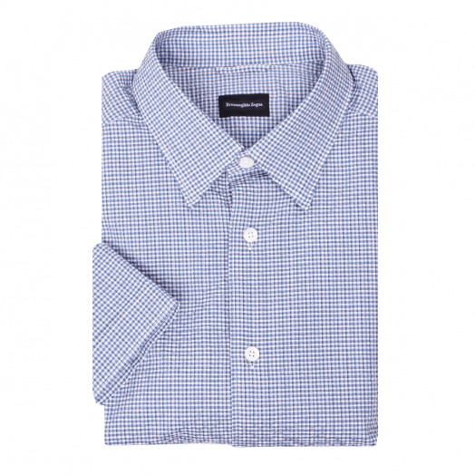 Blue Check Seersucker Short Sleeve Shirt