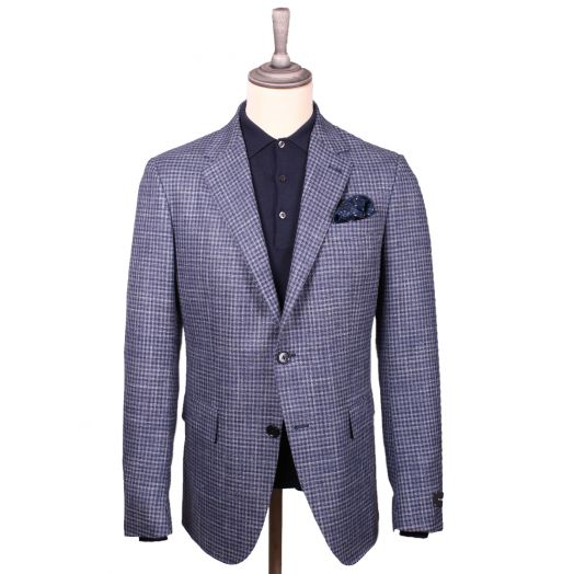 Blue Check Wool Blend Jacket