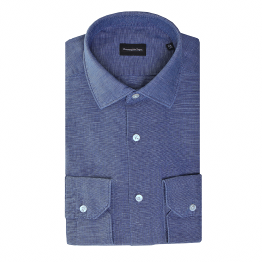 Blue Cotton & Linen Milano Fit Shirt