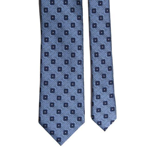 Blue Geometric Design Silk Tie