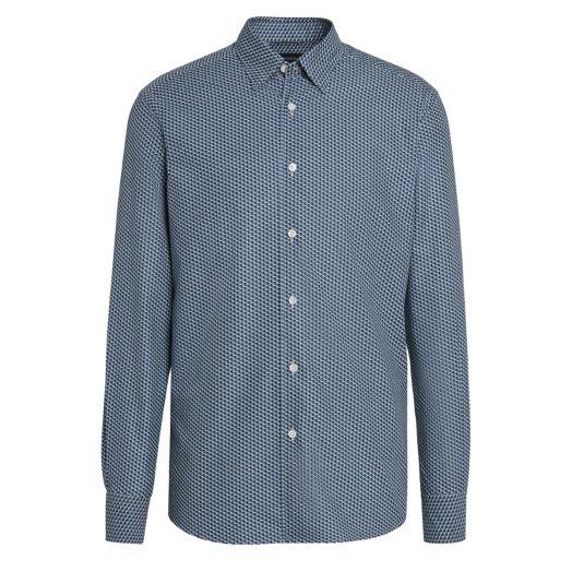 Blue Geometric Print 100% Cotton Shirt