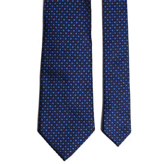 Blue Spotted Pattern Silk Tie