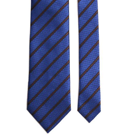 Bright Blue & Brown Stripe Silk Tie