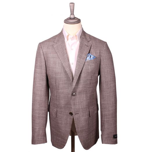 Brown & Cream Check Wool Blend Jacket