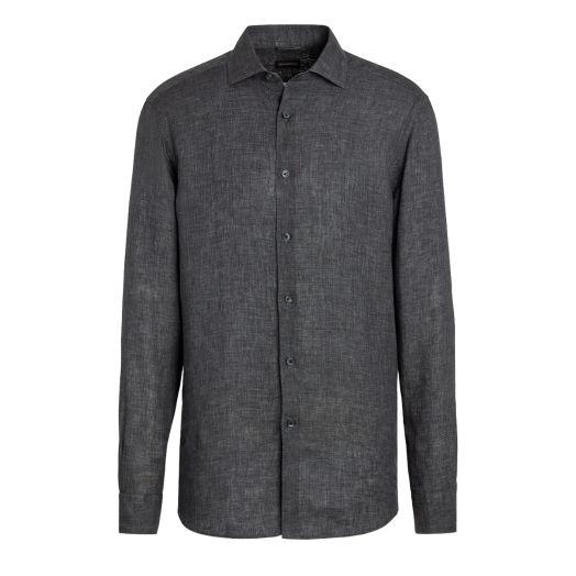 Charcoal Grey Pure Linen Shirt
