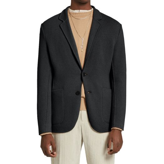 Charcoal Wool & Cashmere Knitted Jacket