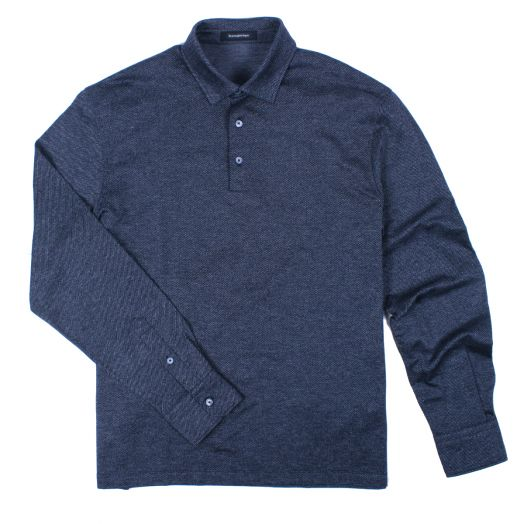 Dark Grey Jacquard Long Sleeve Polo Shirt