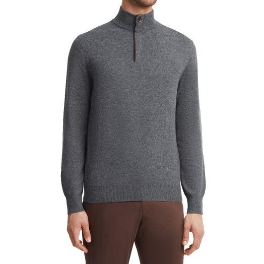 Dark Grey Mock-Neck Cashmere Sweater