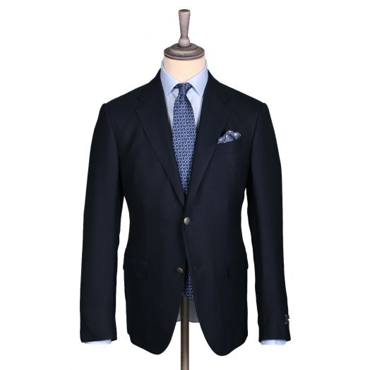 Dark Navy 10-Pocket Wool, Silk Stretch Travel Blazer