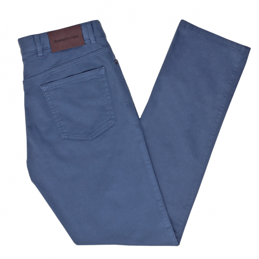 Denim Stretch Cotton Trousers