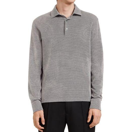 Grey Cotton & Wool Long-Sleeve Polo