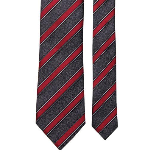Grey & Red Diagonal Stripe Silk Tie