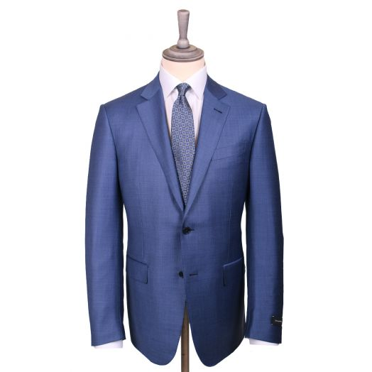 High Blue Solid Trofeo Wool Suit
