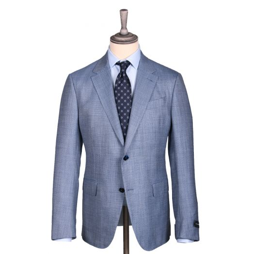 Light Blue Basket Weave Wool Silk Jacket