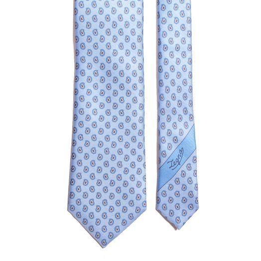 Light Blue Paisley Print Silk Tie