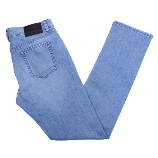 Light Wash Stretch Cotton Tailored Jeans