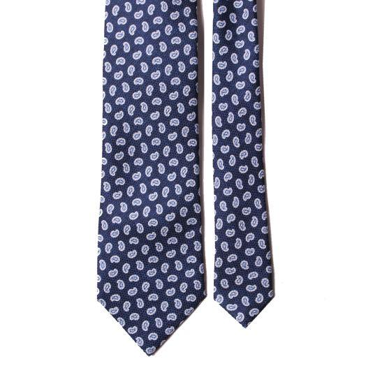 Navy Blue Paisley Print Silk Tie