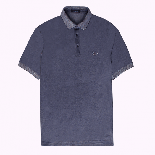 Navy Cotton Jersey Logo Polo