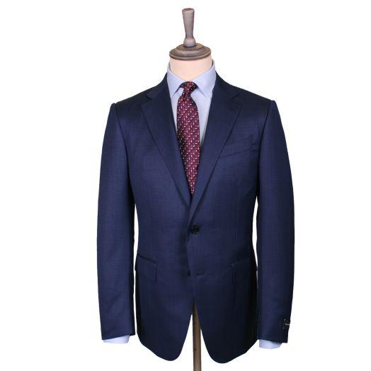 Navy Micro Check Multiseason Wool Suit