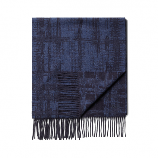Night Blue Abstract Design 100% Pure Silk Scarf