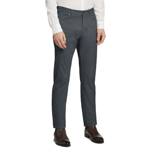 Pewter Grey Stretch Cotton 5-Pocket Jeans