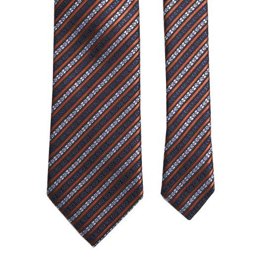 Silver & Bronze Diagonal Microdetail Silk Tie