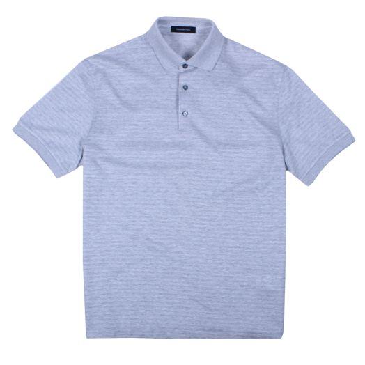 Stone Grey Cotton & Silk Polo Shirt