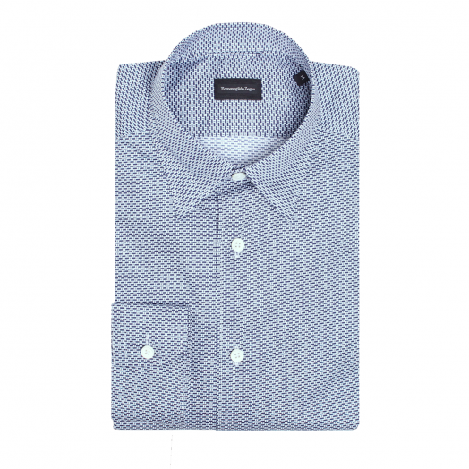 White & Blue Pattern Printed Cotton Shirt