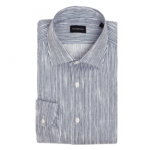 White & Blue Stripe Linen Shirt