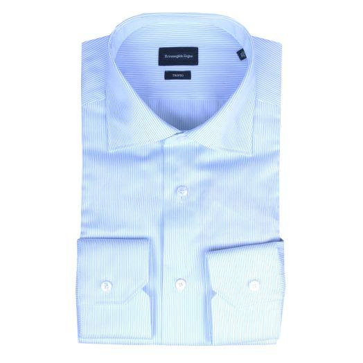 White & Blue Stripe Twill Shirt