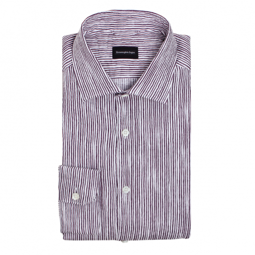 White & Purple Stripe Linen Shirt