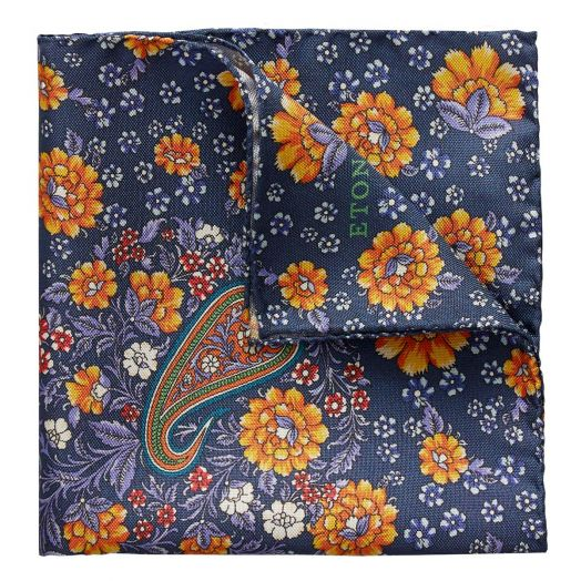 Blue Flower Paisley Print 100% Silk Pocket Square